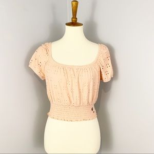 NWT Hollister Pink Eyelet Crop Top